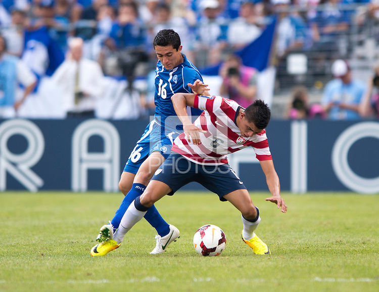 Joe Corona, Marcelo Galeano.  The United States defeated El Salvador, 5-1, during the quarterfinals of the CONCACAF Gold Cup at M&T Bank Stadium in Baltimore, MD.