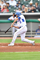 Tennessee Smokies center fielder Connor Myers (9) swings at a pitch during a game against the Birmingham Barons at Smokies Stadium on May 15, 2019 in Kodak, Tennessee. The Smokies defeated the Barons 7-3. (Tony Farlow/Four Seam Images)