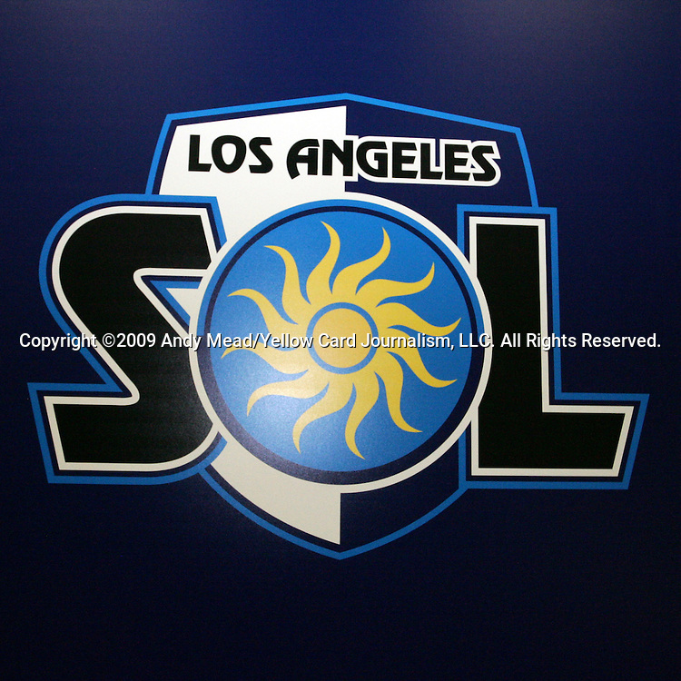 16 January 2009: Los Angeles Sol logo. The 2009 inaugural Womens Pro Soccer (WPS) Draft was held at the Convention Center in St. Louis, Missouri in conjuction with the National Soccer Coaches Association of America's annual convention.