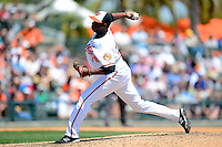 Baltimore Orioles pitcher Jairo Ascencio #79 delives a pitch during a Spring Training game against the New York Mets at Ed Smith Stadium on March 30, 2013 in Sarasota, Florida.  (Mike Janes/Four Seam Images)