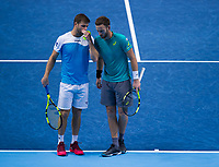 Ryan Harrison of USA (left) with partner Michael Venus of New Zealand during their match against Henri Kontinen of Finland and John Peers of Australia - Harrison/Venus def Kontinen/Peers 6-4, 7-6<br /> <br /> Photographer Ashley Western/CameraSport<br /> <br /> International Tennis - Barclays ATP World Tour Finals - O2 Arena - London - Day 1 - Sunday 12th November 2017<br /> <br /> World Copyright &not;&copy; 2017 CameraSport. All rights reserved. 43 Linden Ave. Countesthorpe. Leicester. England. LE8 5PG - Tel: +44 (0) 116 277 4147 - admin@camerasport.com - www.camerasport.com