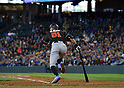 Ichiro Suzuki (Marlins),<br /> APRIL 19, 2017 - MLB :<br /> Ichiro Suzuki of the Miami Marlins runs to first base during the Major League Baseball game against the Seattle Mariners at Safeco Field in Seattle, Washington, United States. (Photo by AFLO)