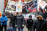Fans join the Red, White & Black day procession in support of Charlton Athletic Race & Equality Partnership (CARE) during the Sky Bet League 1 match between Charlton Athletic and Fleetwood Town at The Valley, London, England on 17 March 2018. Photo by Carlton Myrie.