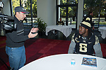 Jaboree Williams (6) of the Wake Forest Demon Deacons answers questions during Media Day for the 2017 Belk Bowl at the Charlotte Convention Center on December 28, 2017 in Charlotte, North Carolina.  (Brian Westerholt/Sports On Film)