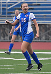 Roxana forward Emma Lucas is all smiles as she reacts to scoring in the second half. Roxana High School played a girls soccer game at Freeburg High School on Thursday May 3, 2018. Tim Vizer | Special to STLhighschoolsports.com