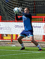 Goalkeeper Scott Brown of Wycombe Wanderers warming up before the Sky Bet League 2 match between Crawley Town and Wycombe Wanderers at Broadfield Stadium, Crawley, England on 6 August 2016. Photo by Alan  Stanford / PRiME Media Images.