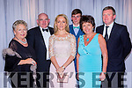 Enjoying the Kerry Stars ball in the Malton Hotel on Friday night were front row l-r: Maire, Donal and Lisa Geaney, Niall, Margaret and Vincent Durkin Castleisland