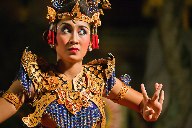 The KEBYAR DUDUK DANCE is performed by the Cenik Wayah Gamelan Dance Group at PURA TAMAN SARASWATI - UBUD, BALI, INDONESIA