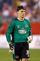 Houston Dynamo goalkeeper Pat Onstad (18). The New England Revolution defeated the Houston Dynamo 2-2 (6-5) in penalty kicks in the SuperLiga finals at Gillette Stadium in Foxborough, MA, on August 5, 2008.