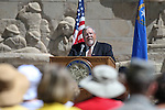 Emcee Guy Clifton speaks at the Nevada National Guard's 18th annual Flag Day ceremony at the Capitol in Carson City, Nev., on Tuesday, June 14, 2016.<br />