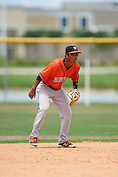 GCL Astros second baseman Juan Pineda (16) during a game against the GCL Nationals on August 14, 2016 at the Carl Barger Baseball Complex in Viera, Florida.  GCL Nationals defeated GCL Astros 8-6.  (Mike Janes/Four Seam Images)