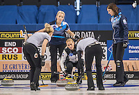 Glasgow. SCOTLAND.   &quot;A Russian, Play, during  the &quot;Round Robin&quot; Game.  Scotland vs Russia,  Le Gruy&egrave;re European Curling Championships. 2016 Venue, Braehead  Scotland<br /> Thursday  24/11/2016<br /> <br /> [Mandatory Credit; Peter Spurrier/Intersport-images]