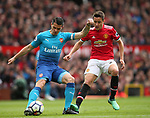 Granit Xhaka of Arsenal and Ander Herrera of Manchester United during the premier league match at the Old Trafford Stadium, Manchester. Picture date 29th April 2018. Picture credit should read: Simon Bellis/Sportimage
