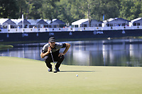 Dustin Johnson (USA) on the 14th green during Thursday's Round 1 of the 2017 PGA Championship held at Quail Hollow Golf Club, Charlotte, North Carolina, USA. 10th August 2017.<br /> Picture: Eoin Clarke | Golffile<br /> <br /> <br /> All photos usage must carry mandatory copyright credit (&copy; Golffile | Eoin Clarke)