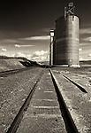 This grain silo sits aside train tracks near the McCoy area in the Palouse of Eastern Washington