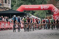 Peloton enduring the Antwerp cobbles<br /> <br /> 2017 National Championships Belgium - Elite Men - Road Race (NC)<br /> 1 Day Race: Antwerpen &gt; Antwerpen (233km)