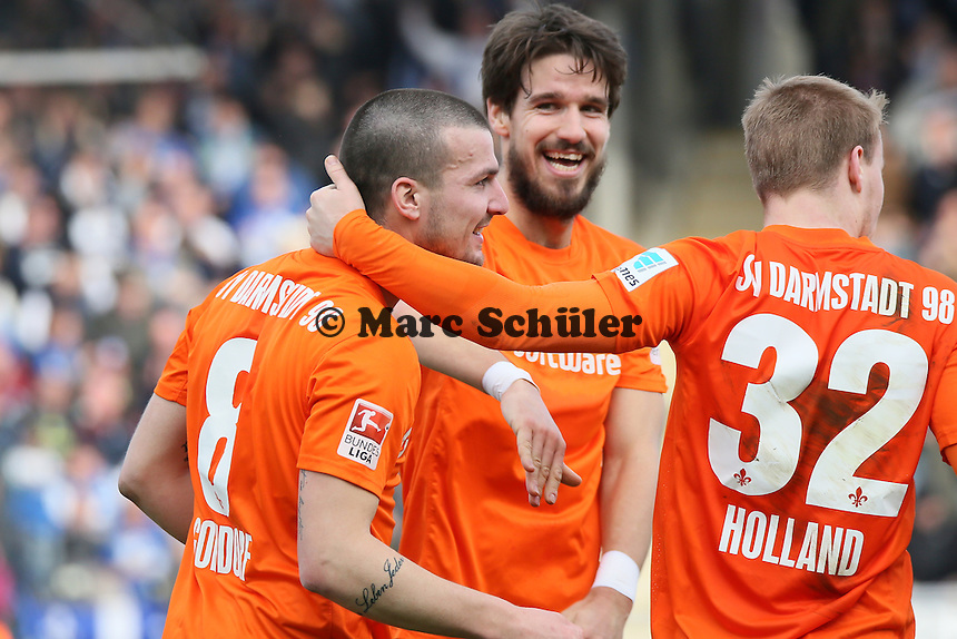 Torjubel um Jerome Gondorf (SV98) beim 1:1 - FSV Frankfurt vs. SV Darmstadt 98, Frankfurter Volksbank Stadion