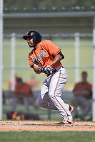 Baltimore Orioles Jamill Moquete (27) during a minor league spring training game against the Minnesota Twins on March 28, 2015 at the Buck O'Neil Complex in Sarasota, Florida.  (Mike Janes/Four Seam Images)