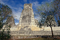 Structure 1 at the Mayan ruins of Xpujil, Campeche, Mexico. This complex is an example of the Rio Bec style of ancient Mayan architecture.