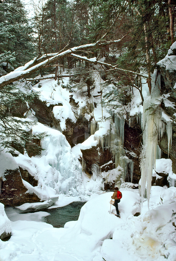 Snow Shoeing at Bigham Falls near Stowe, VT