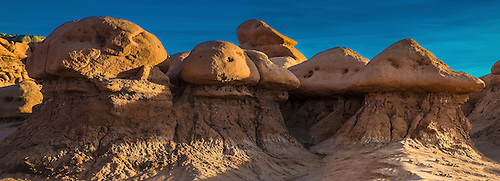 Bright colors come alive during sunset at Goblin Valley State Park, Utah
