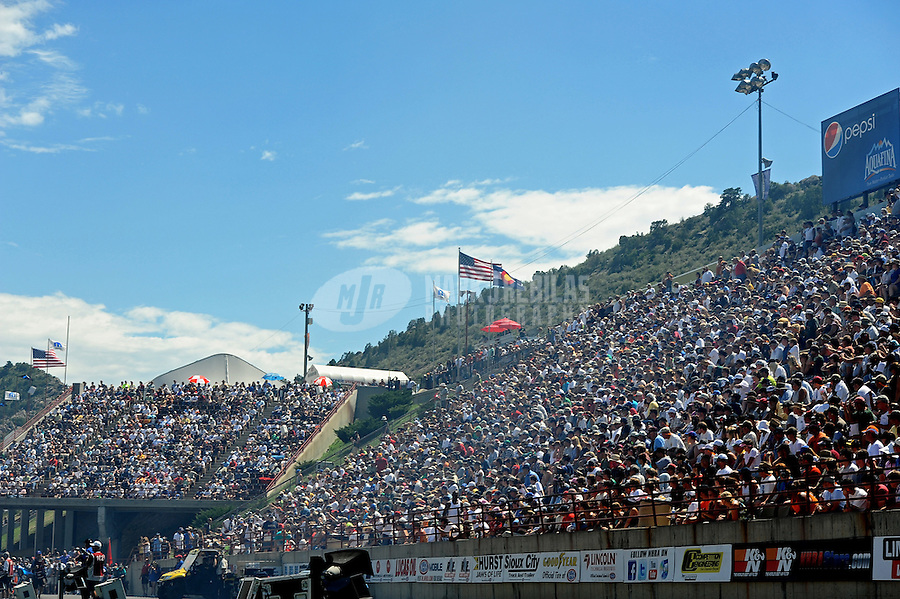 Jul. 24, 2011; Morrison, CO, USA: NHRA fans in the mountainside grandstands during the Mile High Nationals at Bandimere Speedway. Mandatory Credit: Mark J. Rebilas-
