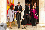 King Felipe VI of Spain, Queen Letizia, Uruguayan poet Ida Vitale and Vicepresident Carmen Calvo (r) during the Cervantes Literature Prize ceremony at the University of Alcala in Madrid on April 23, 2019. (ALTERPHOTOS/Alconada).