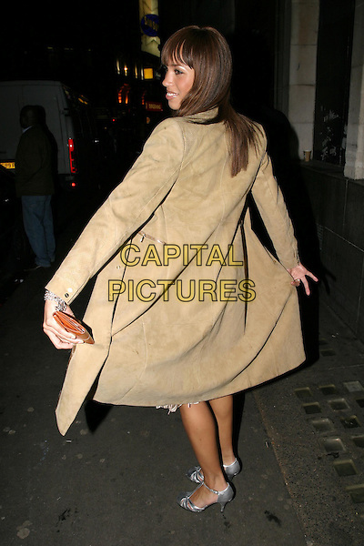 JAVINE HILTON.The Fighting Temptations UK charity premiere.full length, full-length, beige coat, silver shoes, heels, posing.www.capitalpictures.com.sales@capitalpictures.com.© Capital Pictures.