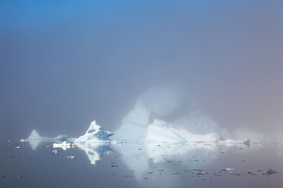 Icebergs on Sermilik Fjord near settlement of Tiniteqilaq, East Greenland