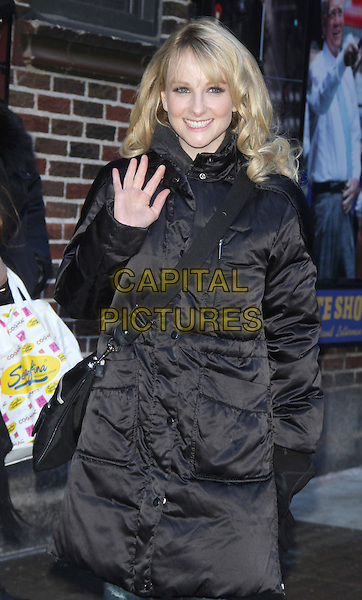 NEW YORK, NY - MARCH 13: Melissa Rauch at Late Show with David Letterman on March 13, 2014 in in New York City, NY., USA.<br /> CAP/MPI/RW<br /> &copy;RW/ MediaPunch/Capital Pictures