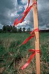 Land Use, Development stake, disappearing farm land, Redmond, Washington, Pacific Northwest, USA,