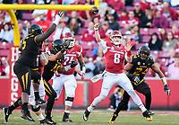 NWA Democrat-Gazette/CHARLIE KAIJO Arkansas Razorbacks quarterback Austin Allen (8) throws a pass in the first half during a football game on Friday, November 24, 2017 at Razorback Stadium in Fayetteville.