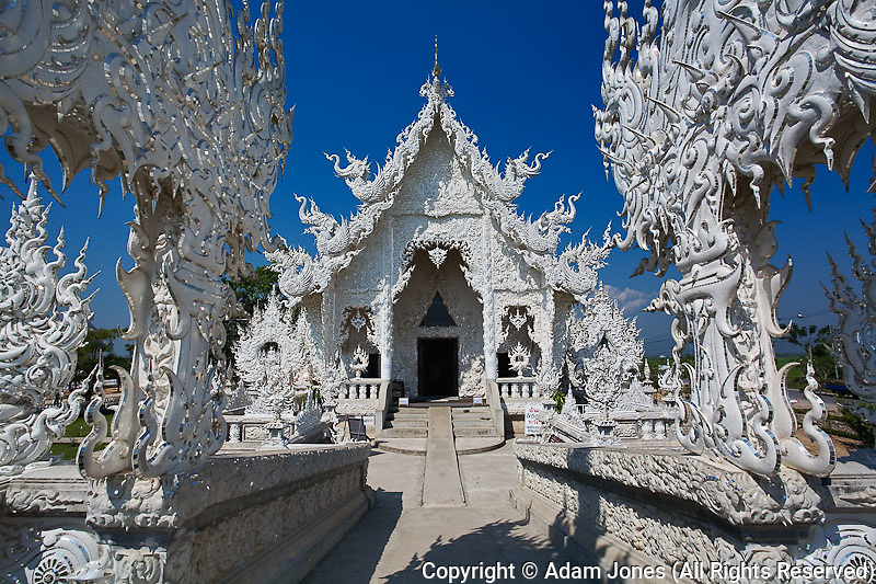 The new all white temple of Wat Rong Khun in Tambon Pa-Or Donchai designed by Chalemchai Kositpipat.
