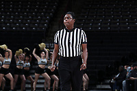 WINSTON-SALEM, NC - FEBRUARY 06: Official Angela Lewis during a game between Notre Dame and Wake Forest at Lawrence Joel Veterans Memorial Coliseum on February 06, 2020 in Winston-Salem, North Carolina.