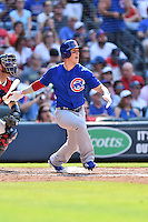 Chicago Cubs left fielder Chris Coghlan (8) swings at a pitch during a game against the Atlanta Braves at Turner Field on June 11, 2016 in Atlanta, Georgia. The Cubs defeated the Braves 8-2. (Tony Farlow/Four Seam Images)