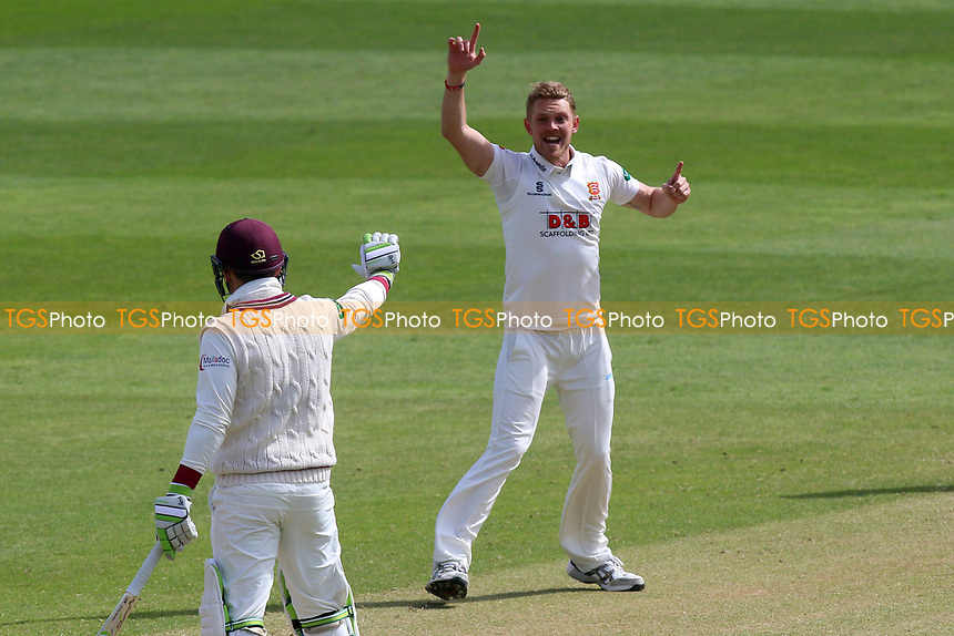 Jamie Porter of Essex celebrates taking the wicket of Marcus Trescothick during Somerset CCC vs Essex CCC, Specsavers County Championship Division 1 Cricket at The Cooper Associates County Ground on 15th April 2017