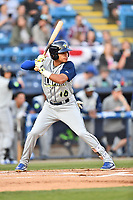 Columbia Fireflies shortstop Edgardo Fermin (10) awaits a pitch during a game against the Asheville Tourists at McCormick Field on April 12, 2018 in Asheville, North Carolina. The Fireflies defeated the Tourists 7-5. (Tony Farlow/Four Seam Images)