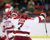 Danny Fick (Harvard - 7) celebrates Michaud's goal which tied the game at 1 in the second period. - The Harvard University Crimson defeated the St. Lawrence University Saints 4-3 on senior night Saturday, February 26, 2011, at Bright Hockey Center in Cambridge, Massachusetts.