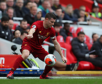 7th March 2020; Anfield, Liverpool, Merseyside, England; English Premier League Football, Liverpool versus AFC Bournemouth; James Milner of Liverpool stoops to control the ball