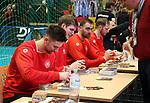 08.01.2019, Hohenschoenhausen, Berlin, GER, Handball WM, DHB,  TRAINING, im Bild <br /> Autogrammstunde, Fabian Wiede (GER #10), Finn Lemke (GER #6), Andreas Wolff (GER #33)<br /> <br />      <br /> Foto &copy; nordphoto / Engler