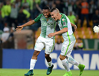 MEDELLIN  -  COLOMBIA: 02 - 05 - 2017: Los jugadores de Atletico Nacional, celebran el segundo gol anotado a Estudiantes de la Plata, durante partido de la fase de grupos, grupo 1 fecha 4, entre Atletico Nacional y Estudiantes de la Plata de Argentina, por la Copa Conmebol Libertadores Bridgestone 2017, en el Estadio Atanasio Girardot, de la ciudad de Medellin./ The players of Atletico Nacional, celebrate the second goal scored against Estudiantes de la Plata, during a match for the group stage, group 1 of the date 4, between Atletico Nacional of Colombia and Estudiantes de la Plata of Argentina, for the Conmebol Libertadores Bridgestone Cup 2017, at the Atanasio Girardot, Stadium, in Medellin city. Photos: VizzorImage / Leon Monsalve / Cont.