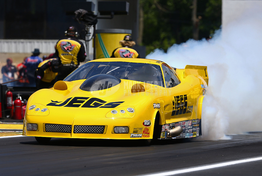 Jun. 2, 2013; Englishtown, NJ, USA: NHRA pro mod driver Troy Coughlin during the Summer Nationals at Raceway Park. Mandatory Credit: Mark J. Rebilas-