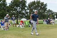 Bronson Burgoon (USA) after sinking his birdie putt from off the green on 1 during round 4 of the 2019 Houston Open, Golf Club of Houston, Houston, Texas, USA. 10/13/2019.<br /> Picture Ken Murray / Golffile.ie<br /> <br /> All photo usage must carry mandatory copyright credit (© Golffile | Ken Murray)