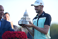 Gainesville, VA - August 2, 2015: Tournament Champion Troy Merritt is handed the Quicken Loans Trophy after winning the 2015 Quicken Loans Nationals at the Robert Trent Jones Golf Club in Gainesville, VA. August 2, 2015.  (Photo by Philip Peters/Media Images International)