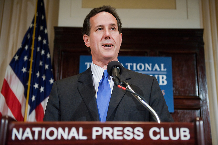 UNITED STATES - APRIL 28:  Former Senator Rick Santorum, R-Pa., delivers a speech at the National Press Club on U.S. foreign policy.  (Photo By Tom Williams/Roll Call)