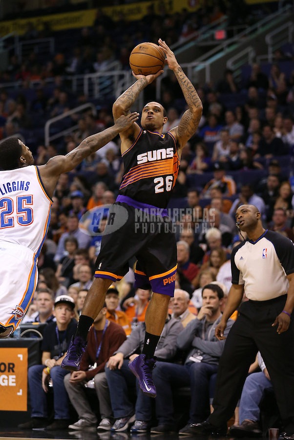 Feb. 10, 2013; Phoenix, AZ, USA: Phoenix Suns point guard Shannon Brown against the Oklahoma City Thunder at the US Airways Center. Mandatory Credit: Mark J. Rebilas-