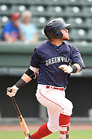 Second baseman Everlouis Lozada (4) of the Greenville Drive bats in Game 1 of a doubleheader against the Hickory Crawdads on Wednesday, July 25, 2018, at Fluor Field at the West End in Greenville, South Carolina. Greenville won, 4-1. (Tom Priddy/Four Seam Images)