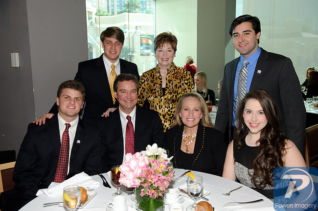 (back row first) Josh Randle, Donna Axum, Ryan Molstead, (front row) Joseph Martin, Sam Haskell, Mary Haskell, Mary Lane Haskell at the 90th Anniversary Miss America luncheon held at Nieman Marcus inside the Fashion Show Mall, Las Vegas, NV, January 13, 2011 © Al Powers / Vegas Magazine