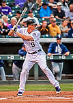 16 September 2017: Colorado Rockies second baseman DJ LeMahieu in action against the San Diego Padres at Coors Field in Denver, Colorado. The Rockies shut out the Padres in a 16-0 route of the second game in their 3-game divisional series. Mandatory Credit: Ed Wolfstein Photo *** RAW (NEF) Image File Available ***
