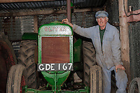 Wednesday 26 March 2014<br /> Pictured: Mr Rees pictured with the Oliver 80 Vitrage Tractor <br /> Re: Robert Rees received two fines for his 70-year-old tractor from two London boroughs - even though it had never left his Pembrokeshire village
